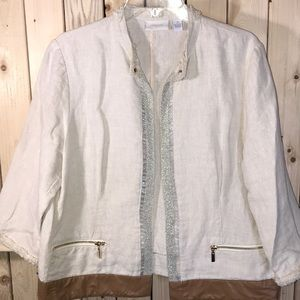 Chico's light tan jacket with embellishments large